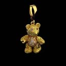 A adorable 18kt. gold  baby bear with pink sapphire eyes and diamond tummy. Also included removable bail. The bear is 7/8 inches long. Available in 1 1/8th inches. Made in the USA and solid!