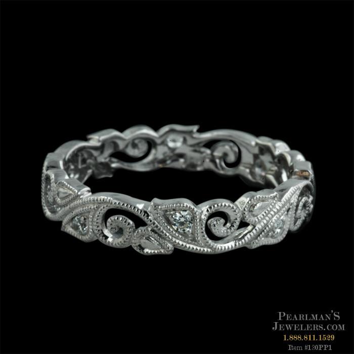 Beverley K 18kt White Gold Floral Diamond Wedding Ring