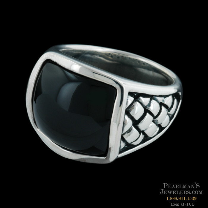 Scott Kay For Men Jewelry Silver Onyx Basketweave Ring