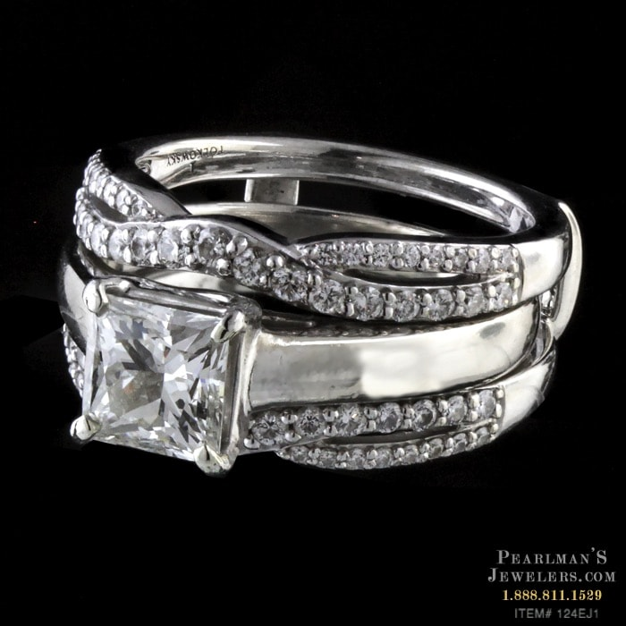 Estate Jewelry Tolkowsky Cut Engagement Ring Wedding Set
