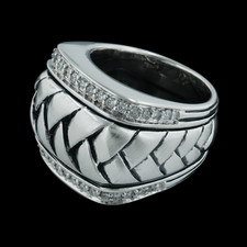 Scott Kay Sterling ladies sterling silver diamond wide basket weave ring, .36ctw.