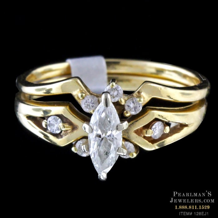 0377d3a87 Estate Jewelry 14k Yellow Gold Marquise Wedding Set