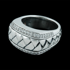 Scott Kay Sterling ladies sterling silver diamond, .30ctw, medium basket weave ring.