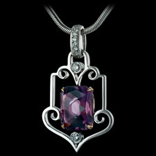 Less is More...Durnell's beautiful Victorian style framed pendant.  Careful curves, perfect points, and subtle diamond accents in just the right places perfectly showcase any beautiful diamond or colored gemstone.  4.62ct amethyst center, .18tw RBC