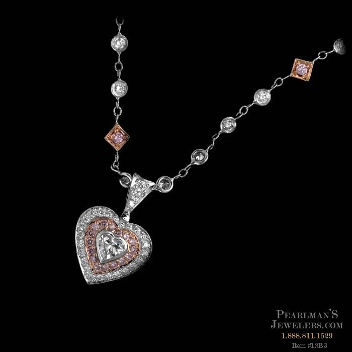Michael Beaudry Jewelry Pink And White Diamond Heart Necklace