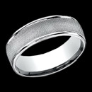 A stylish 14k white gold 7mm mens wedding band. This ring features round edge along the sides and Florentine center design. The ring is priced for a size 10, but can be made in other sizes. Prices may vary depending on finger size.
