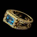 "Cathy Carmendy's 20kt. yellow gold and aquamarine  narrow ""French Lace"" ring. IN addition this stunning ring is  set with diamonds for accent."