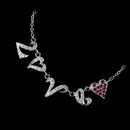 Platinum Love necklace by Cathy Carmendy with diamonds and pink sapphires.
