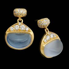Beautiful pave Bean drop earrings by Michael Bondanza.  These are 20k yellowgold with .32ctw of pave diamonds and the Blue chalcedony are 3.5ctw.   >