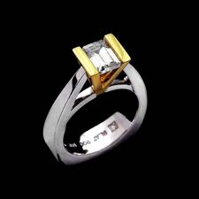 Ladies platinum engagement ring with 18kt yellow gold