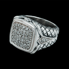 132U1 - Scott Kay Sterling ladies sterling silver diamond basket weave ring set with .82ctw. of full cut diamonds. VS G-H quality.  The ring is 18mm in width and weighs 17 grams. Very heavy piece!  Size 7 New old stock!