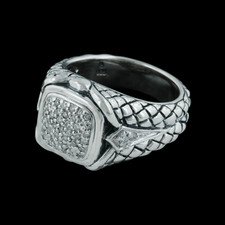 Ladies sterling silver and diamond, .25ct, basketweave ring from Scott Kay Sterling.