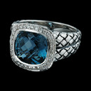 Scott Kay Sterling ladies sterling silver facet London Blue w/diamond basket weave ring.