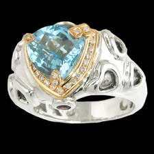 Bellarri Blue topaz and diamond halo ring
