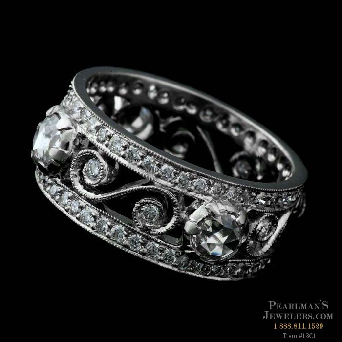 Item 13C1 Cathy Carmendy platinum and diamond scroll wedding ring