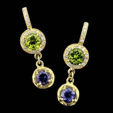 SeidenGang 18kt. green gold drop earrings set with a 10mm peridot and an 8mm iolite.