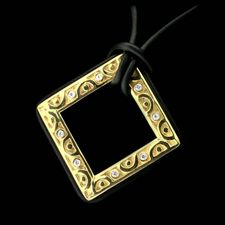 18kt square retro pendant with bezel set diamonds black rubber accents and suspended by a black rubber cord, created by Chris Correia.