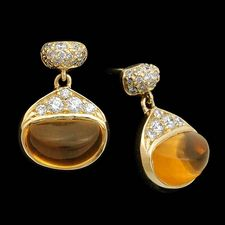 Michael Bondanza 18k yg pave Bean Citrine drop earrings.  There are .32ctw of pave diamonds with 3ctw citrines.