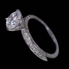 Pearlman's Bridal Platinum three sided diamond pave engagement ring