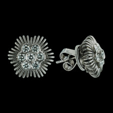Beautiful pair of platinum and diamond Michael B *Flower* earrings.  The pave diamonds are .55ctw.