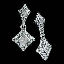Scott Kay Sterling ladies sterling silver diamond drop basket weave earrings, with .14ct. tw in diamonds.