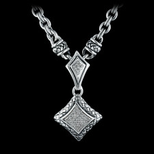 Ladies sterling silver diamond, .13ctw enhancer from Scott Kay Sterling, with 25 signature chain and toggle 16