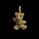 A too cute 18kt. solid gold baby bear with blue sapphire tummy, eyes, paws, and a diamond pave body. This bear is 7/8' in length. All parts move. Made in the USA A 1 1/8th inch in length bear is available.