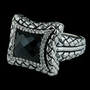 Ladies sterling silver .20ctw diamonds and fancy onyx basket weave dome ring designed by Scott Kay Sterling.