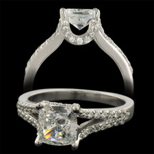 Pearlman's Bridal Platinum split shank pave' diamond engagement ring