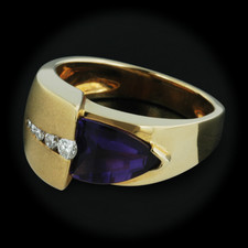This is a nice 18kt yellow gold amethyst ring with .12ctw if diamonds by Hollander. The size of the ring is 7.25 and it has a thickness of 4mm.