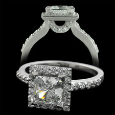 Pearlman's Bridal Platinum diamond pave halo engagement ring