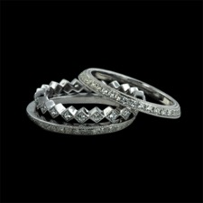 Beverley K 18kt white gold diamond stackable bands