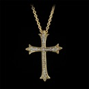 Item 145Z3 - A beautiful Honora 18kt yellow gold and diamond cross pendant set with .17ct of VS G-H quality diamonds. The pendants measures 20mm by 29.5mm. Nice buy!!