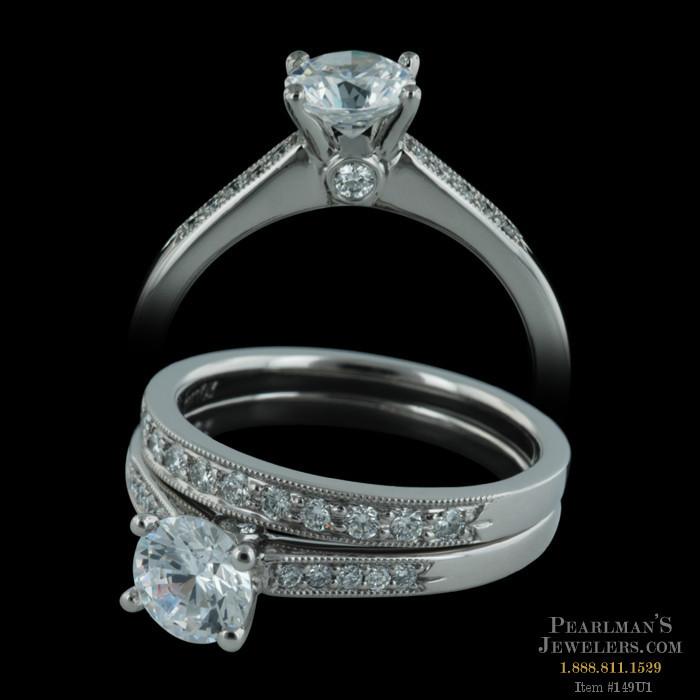 Scott Kay Palladium Engraved Three Sided Diamond Wedding: Closeout Jewelry Jewelry Scott Kay Engagement Ring And