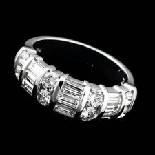 Alexander Primak platinum and diamond wedding band with 1.50ctw in baguette and round diamonds.