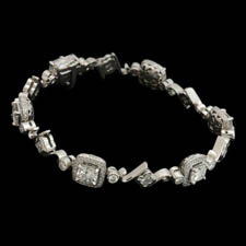 Michael Beaudry platinum cushion cut diamond bracelet
