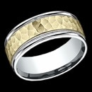 A unique two tone 14k gold 8mm mens wedding band. This ring features a Hammer design in the center, with Milgrain going along the center. The price is for a size 10, but can be made in other sizes. Prices may vary depending on finger sizes.