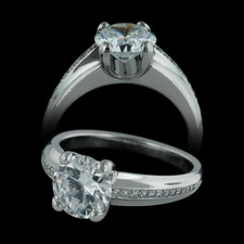 An exquisite platinum Gramercy engagement ring with pave diamond weighing .10ct.  Designed by Michael Bondanza.  Center diamond not included.