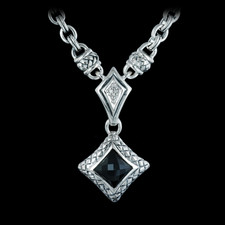 Ladies sterling silver diamond/onyx necklace with 25 signature chain and toggle, from Scott Kay Sterling.