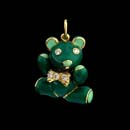 A beautiful green hand painted enamel teddy bear pendant with diamond bow tie and eyes in 18k gold. The bear is 7/8 inches in length.  Very solid piece.  Head, arms and legs move. Available in 1 1/8''. Made in the USA