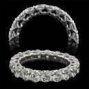 From the Pearlman's Bridal Collection a sparkling platinum and diamond shared prong eternity ring. 3.40ct total weight in F color, VS clarity, ideal cut diamonds. Other carat weights and diamond grades available. 18 diamonds 3.5mm each.