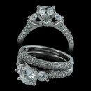 Beautiful 950 Palladium wedding set by Scott Kay. The E-ring is set with .64ct and W'd band .44ct. All set in pave. Diamonds are VS F-G quality. Center stone is a 1.0ct CZ. Size 6.  Sols as a set only. This is a new old stock set. Very nice buy!!