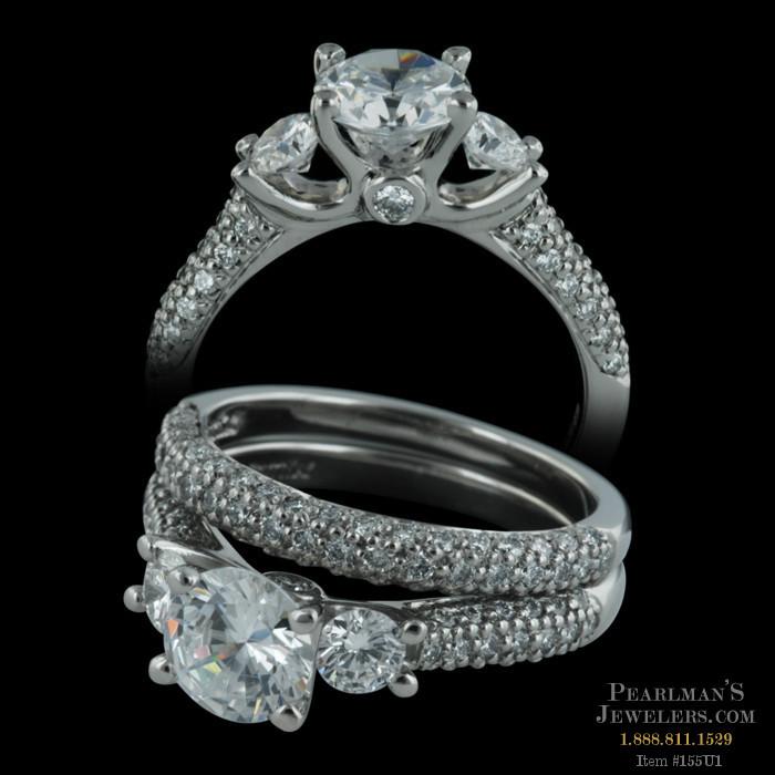 Scott Kay Palladium Engraved Three Sided Diamond Wedding: Closeout Jewelry Jewelry Scott Kay Pave' Diamond
