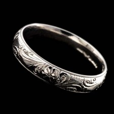 flower scrolls wedding band