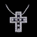 Regal beauty: Damiani white gold diamond and sapphire cross pendant.
