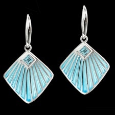 Nicole Barr Silver Fan blue enamel topaz Earrings