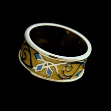 18kt yellow gold yellow and blue enamel ring.