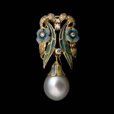 Beautiful 18kt yellow gold and enamel pendant with drop pearl enhancer from Nouveau Collection.
