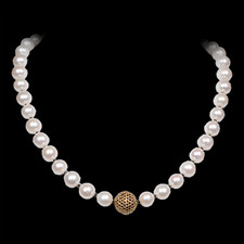 Robert Golden 22k gold pearl and black diamond necklace