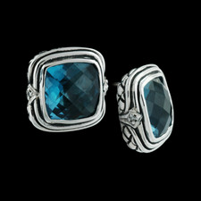 Ladies sterling silver diamond london blue 10x10 basketweave earrings from Scott Kay Sterling, with omega clip.